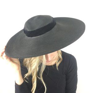 Vintage Straw Hat Wide Brim Black Velvet Ribbon